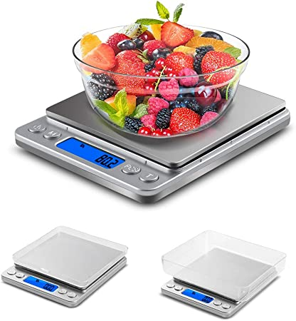VADIV Báscula Digital de Cocina,0.1g/3kg Balanza Precision con Pantalla LCD e 2 Bandejas, Balanza Cocina de Acero Inoxidable,Balanza de Alimentos Alta Precisión,Vasculas de Cocina(No Incluye Batería): Amazon.es: Hogar