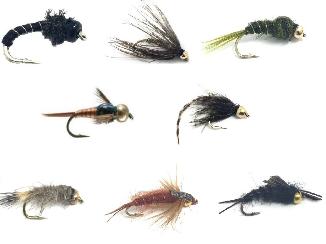 Fly Fishing Assortment For Trout and Other Freshwater Fish - 24 Flies in 8 Patterns and 3 Sizes with Fly Box - Soft Hackle, Olive Nymph, Midge, Copper John, Caddis Pupa, Hare's Ear, Stonefly by Feeder Creek