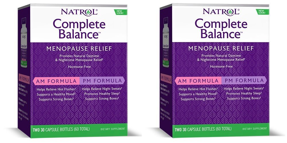 Natrol Complete Balance A.M./P.M. Formula for Menopause, Two, 30 Capsule Bottles (Pack of 2)