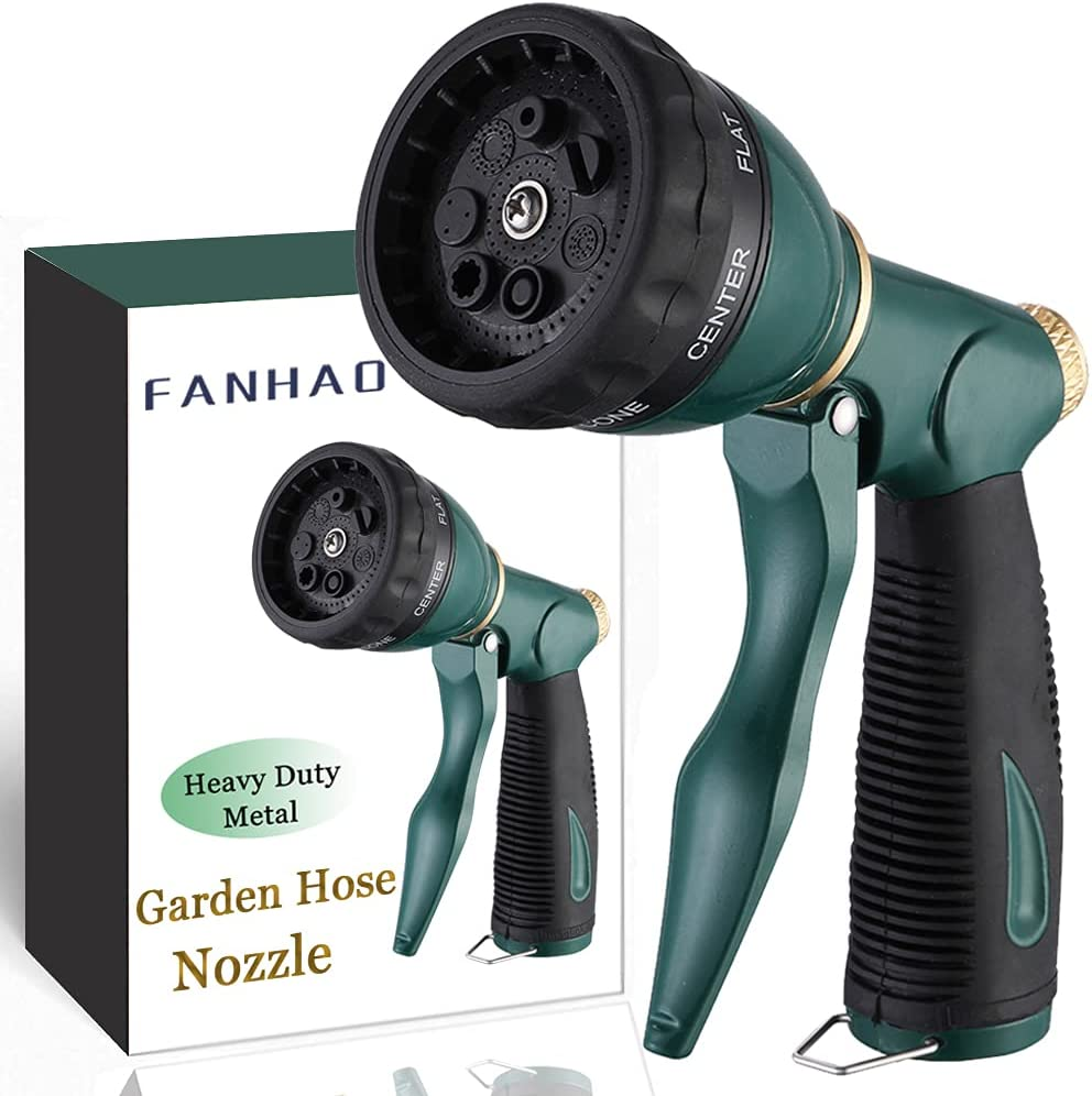FANHAO Garden Hose Nozzle Sprayer Heavy Duty, 100% Metal Spray Nozzle High Pressure Water Hose Nozzle with 7 Patterns for Watering Garden, Washing Cars and Showering Pets