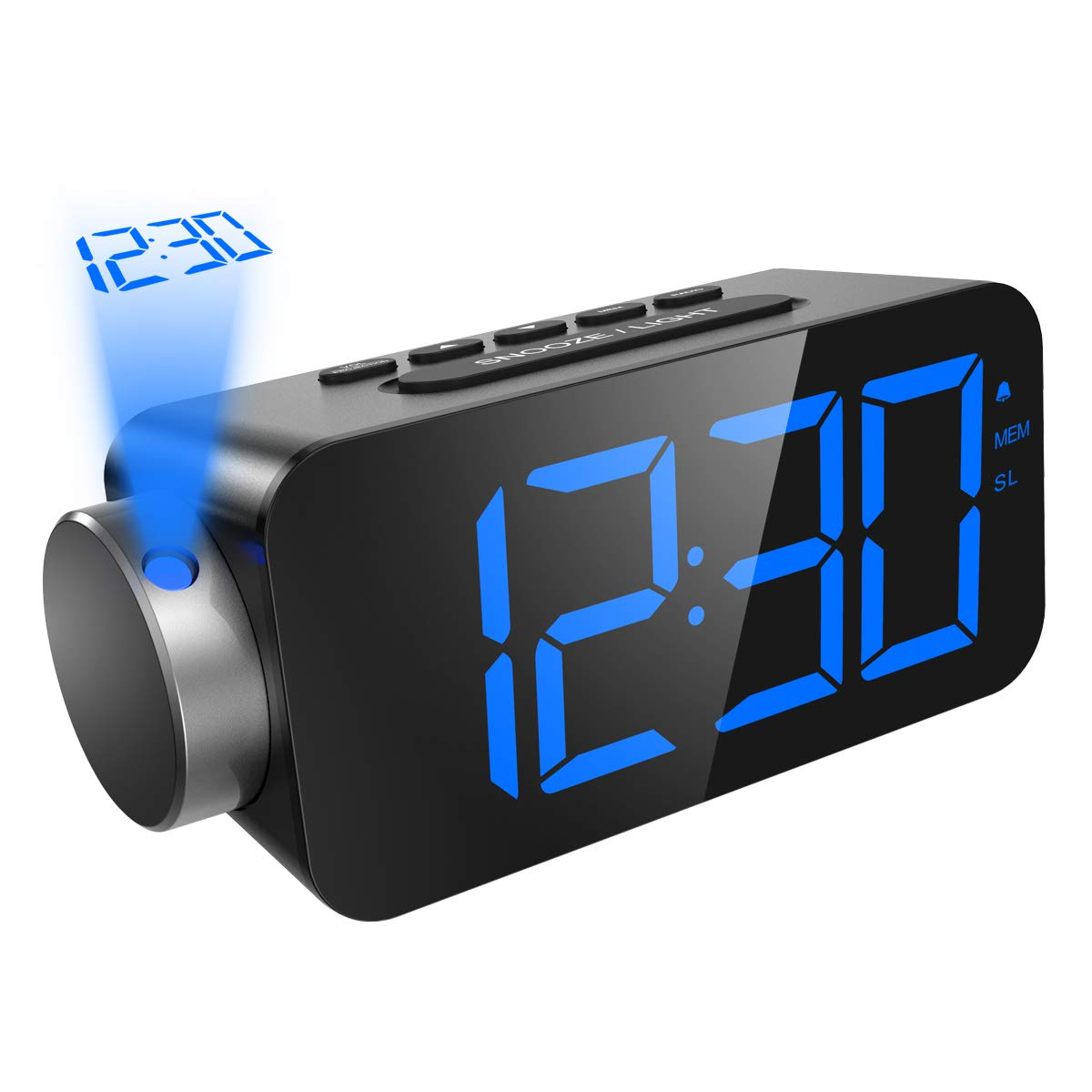 ORIA Projection Clock, FM Radio Alarm Clock, 6.5'' LED Display with Dimmer, Alarm with USB Charging Port, 12/24 Hours, 3 Level of Brightness, 180° Adjustable Angle, Backup Battery for Power Failure