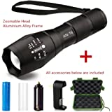 Tactical Flashlight Kit, ANNAN 1000-Lumen Bright LED Flashlight with Zoomable Head, 5-Mode, Portable Waterproof Torch, Aluminum Frame, AAA or Included Rechargeable 18650 Lithiumion Battery,Charger