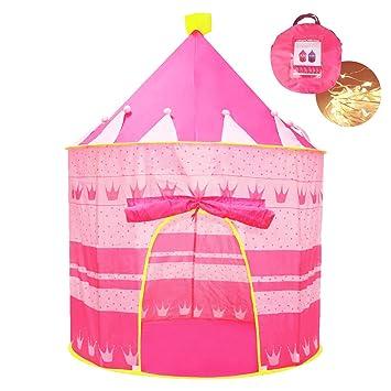 Opret Tienda de Princesa para Niñas Pop Up Carpa Plegable para Niños Carpa Rosa con Bolsa de Transporte y Luz de Cadena para Interiores y Exteriores: ...