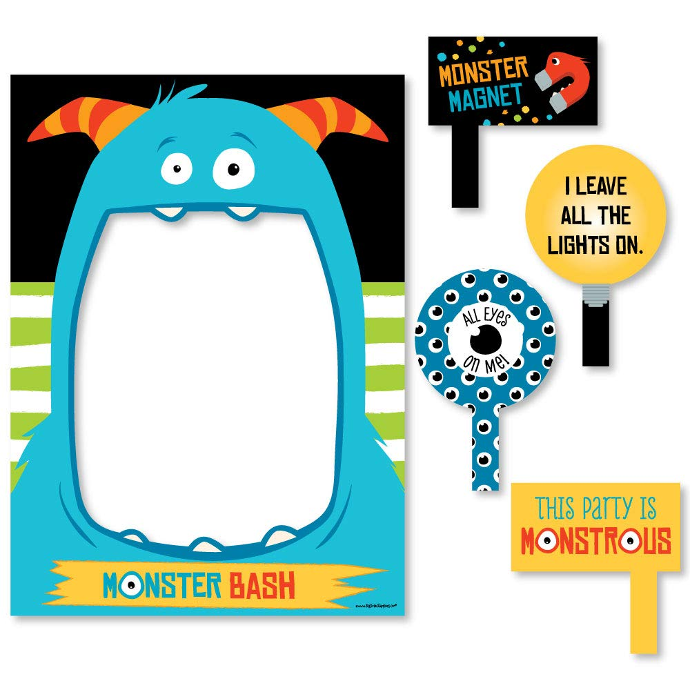 Big Dot of Happiness Monster Bash - Little Monster Birthday Party or Baby Shower Selfie Photo Booth Picture Frame & Props - Printed on Sturdy Material