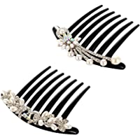 Lurrose 2pcs Pearls Hair Side Comb Crystal Decor Plastic Twist Comb with 7 Teeth Comb for Women Girls (Peacock, Flower)