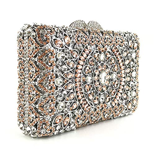 Blue Women Crystal Clutch Magnet Evening Bag Clasp Handbags Beaded Rhinestone Purse for Elegant O7BFq