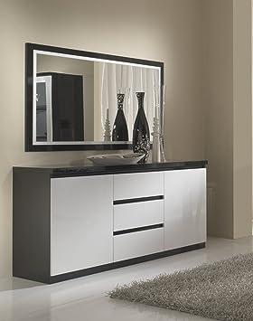 Matelpro-Buffet/bahut design laqué blanc et noir Krista ...