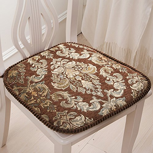 chair pad European Style Chenille Dining with Ties All Seasons Kitchen Thick Seat Cushions (Coffee)