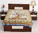 Sarjana Handicrafts Twin Size Cotton Flat Bed Sheet Tree Of Life Bedspread Bedding (White)