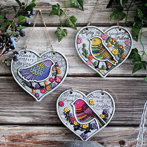 Sungmor 3 Pack Hanging Heart-Shaped Bird Signs Cement Outdoor Garden Plaques | Birds Stepping on Flower Vine | Yard Statue Garden Decor Hanging Wall Ornament Lawn Decorations Plaque