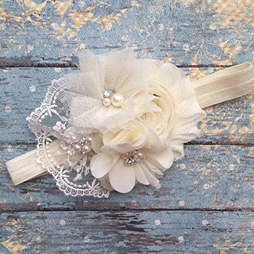 Amazon.com  Ivory Vintage Lace Flower Baby Headband 75d014185f4