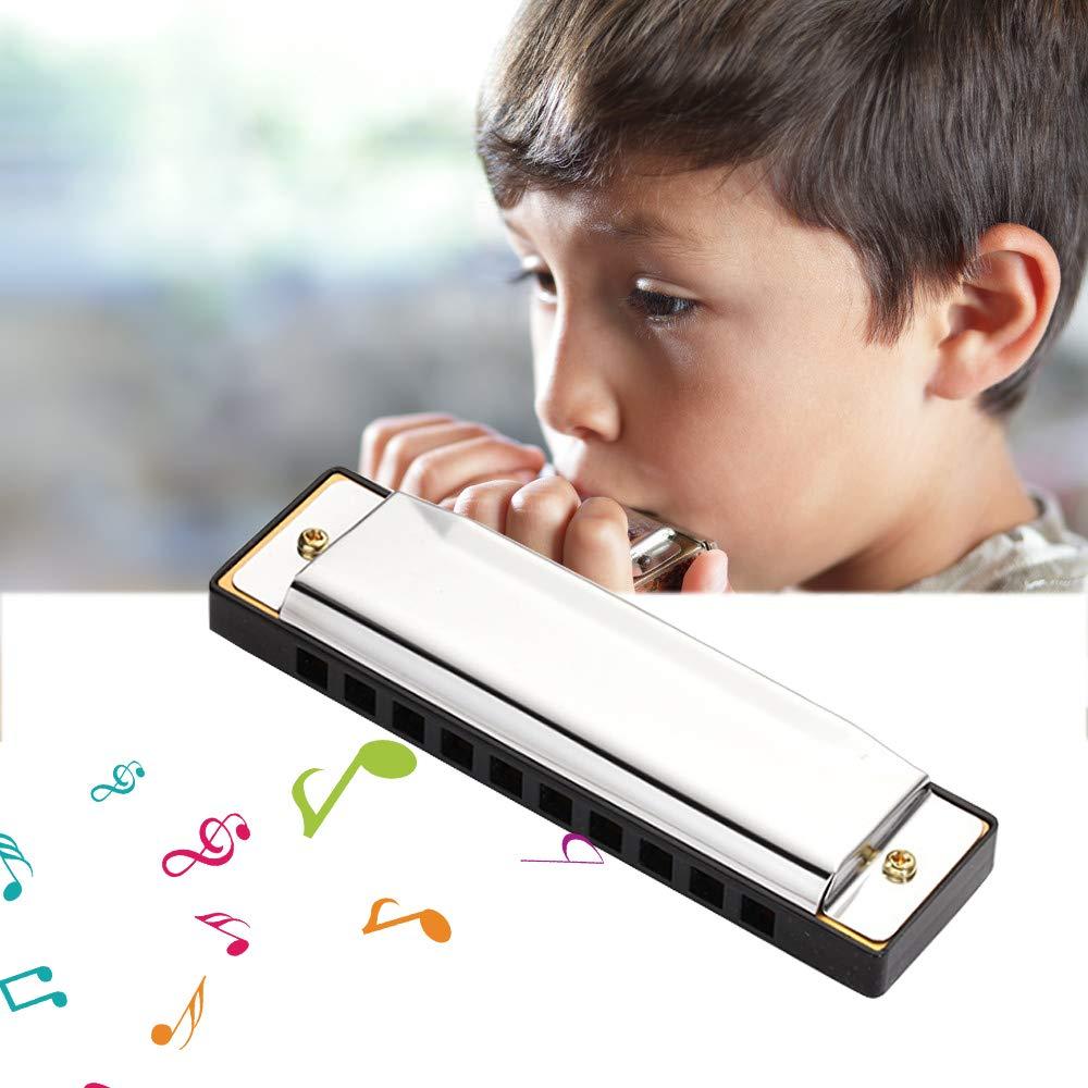 10 Holes Children Harmonica Stainless Steel Chromatics Harmonica Mouth Organ Harp