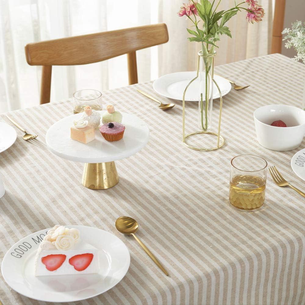 mantel para mesa de cocina Mantel de algod/ón y lino decoraci/ón de mesa color azul comedor Plenmor 140 cm x 140 cm a prueba de polvo cuadrado dise/ño de rayas