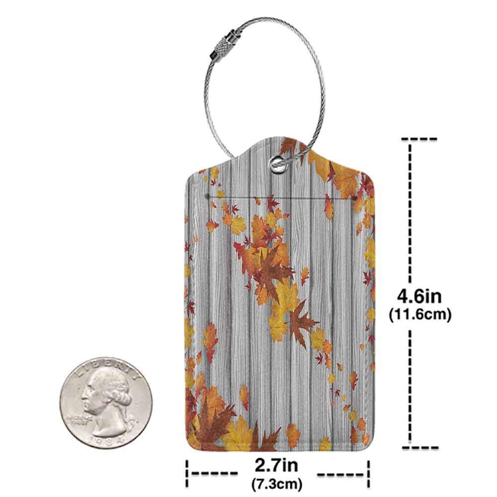 Multicolor luggage tag Fall Maple Leafs Tree Diagonal Leaves Foliage Rustic Wooden Planks Valentines Day Him Print Hanging on the suitcase Yellow Orange Machine Washable W2.7 x L4.6