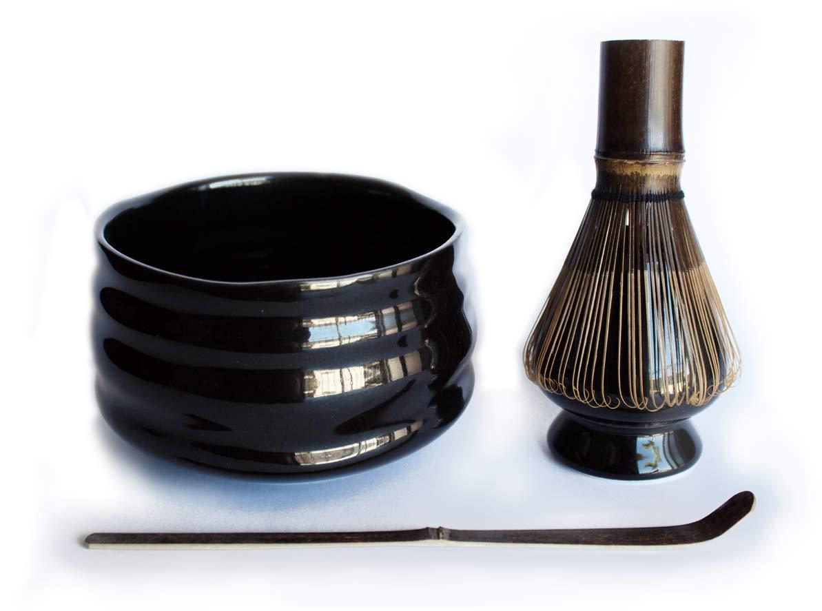 HARU MATCHA - Complete Matcha Tea Ceremony Gift Set - Black Matcha Chawan Bowl, Purple Bamboo Scoop (Chashaku), Purple Bamboo Whisk (100 tate), and Black Whisk Holder by Haru Matcha