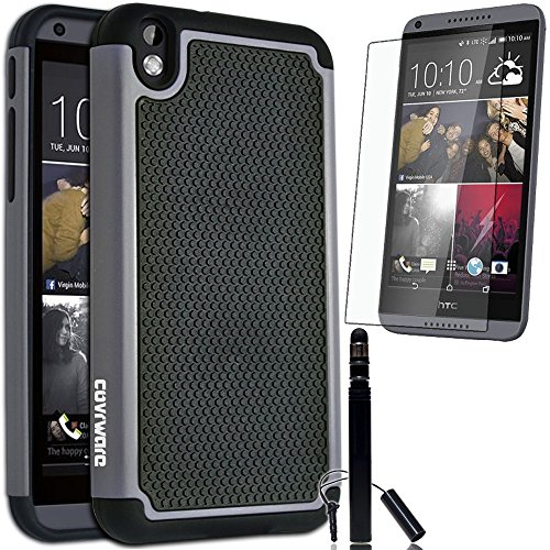HTC Desire 816, COVRWARE® 3 in 1 Bundle - Armor Defender Series Protective Case [Free HD Film & Aluminum Sensitive Cap Stylus Pen] - Gray