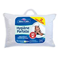 Bleu Câlin OAEH50 lot de 2 oreillers lavables anti-acariens, traitement hygiène parfaite AEGIS