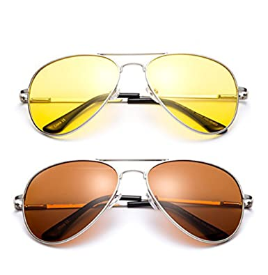 9191f5579d Polarized Night Vision Driving Glasses Yellow Amber Lens   Day Time Drving  Sunglasses Copper Lens-