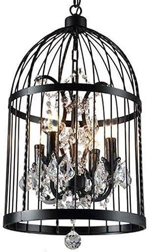 Crystal Pendant Light, 4 Lights Birds Cages Ceiling Chandeliers Fixtures Vintage Iron Birdcage Crystal Chandelier Light Lamp Restaurant Home Shop Decor Incandescent Lighting