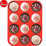 silicon cup cake pan - CHICHIC Set of 2 12-Cup Silicone Muffin Pan Baking Mold Cupcake Pan Maker Mold for Cupcakes, Muffins & Mini Cakes, 100% Food Grade Silicone, BPA free, Non stick, Microwave and Dishwasher Safe