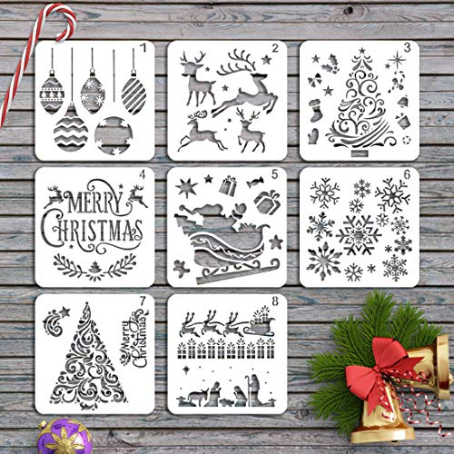 JINSEY Christmas Stencils Templates - 8pcs Merry Christmas, Stanta Claus, Snowflakes, Tree, Balls, Reindeers, Gift Boxes for Christmas Holiday Craft Decorations 5 x 5 inches Cookie Stencils (Christmas Icing Royal Tree Cookies)