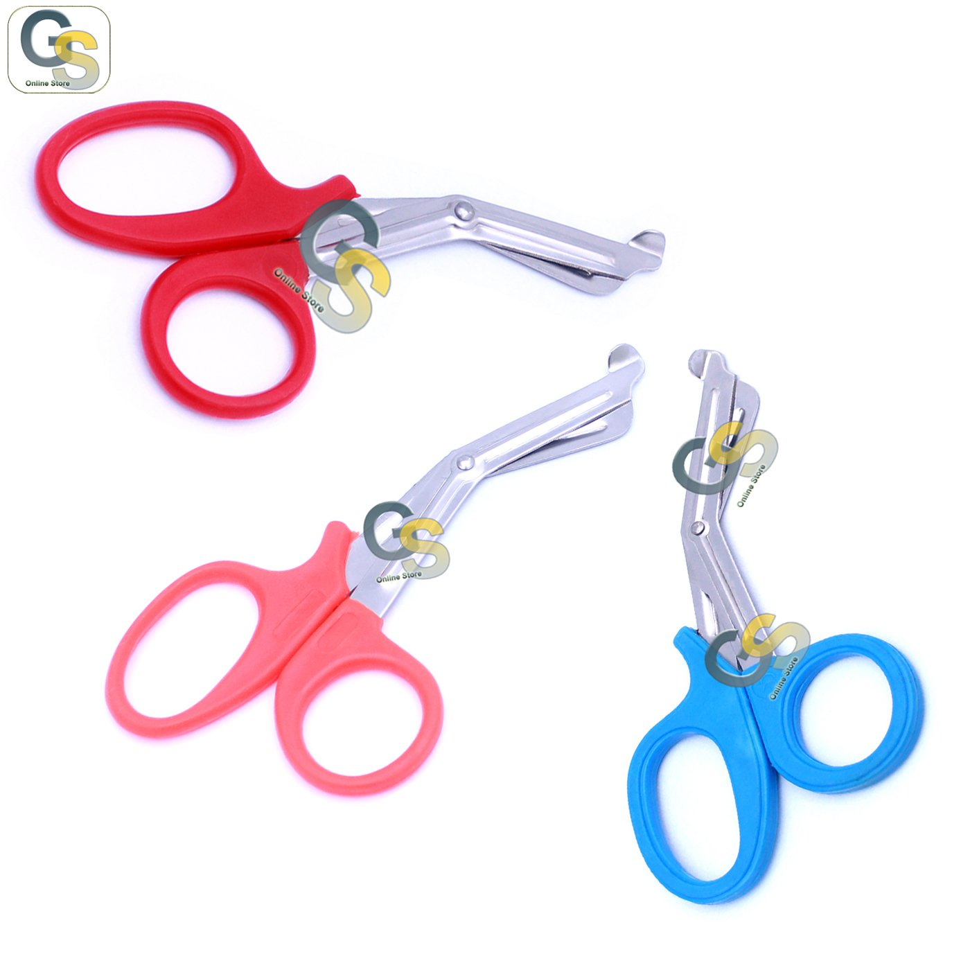 G.S 3 PCS (RED & PINK & SKY BLUE) PARAMEDIC UTILITY BANDAGE TRAUMA EMT EMS SHEARS SCISSORS 7.25 INCH STAINLESS STEEL