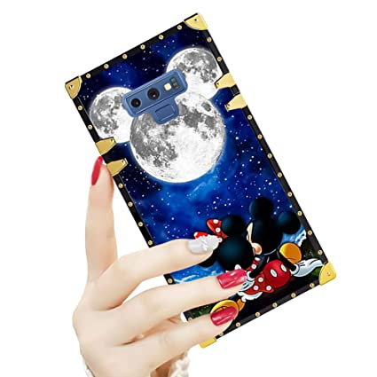 DISNEY COLLECTION Luxury Square Case for Samsung Note 9 Mickey and Minnie are Dating Pattern Design Flexible Reinforced Metal Decoration Corners ...