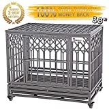 SMONTER 38' Heavy Duty Dog Crate Strong Metal Pet Kennel Playpen with Two Prevent Escape Lock, Large Dogs Cage with Wheels, Y Shape, Dark Silver ... ...