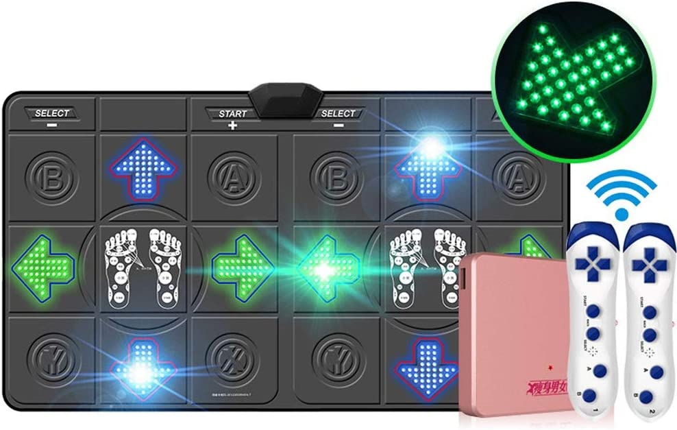 Doble Alfombra de Baile Luminosa inalámbrica 3D HD Antideslizante Manta, cómodo y Seguro del Color Proyector LED Iluminado Teclado inalámbrico Yoga Danza Ejercicio de la pérdida de Peso