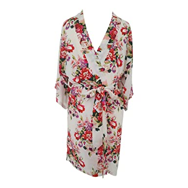 Bridal Robes Ivory Peach Cotton Kimono Dressing Gown Bridesmaids ...