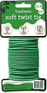 VanSeven Garden Plants Soft Twist Ties, Flexible Garden Twine for Tomato and Grape Rack, Tomato Plant Fixed Tape(Green, 32.8 Feet)