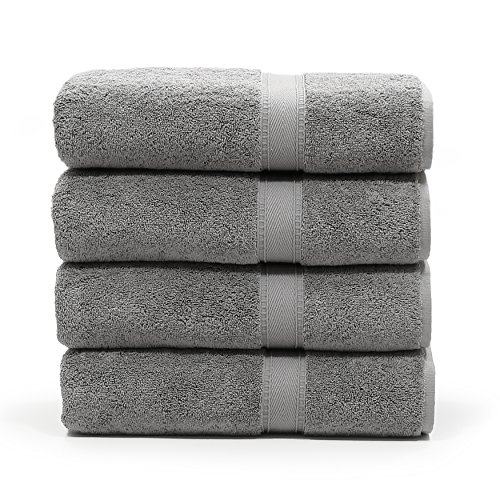 LT Elite Luxury Hotel & Spa Collection Premium Turkish Terry Cotton Bath Towel Set, 4 Bath Towels, Dark Grey by LT Elite