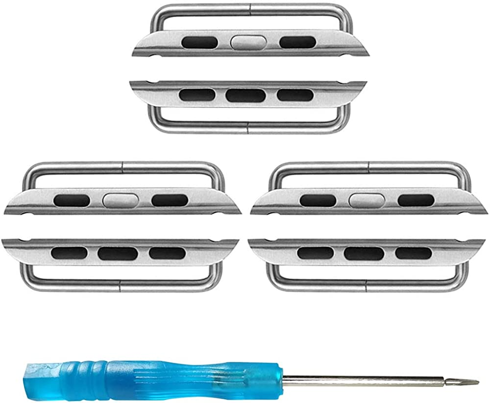 SINGEAR Metal Adapter for Apple Watch Bands, Stainless Steel Connector Replacement Kit Compatible with iWatch Straps