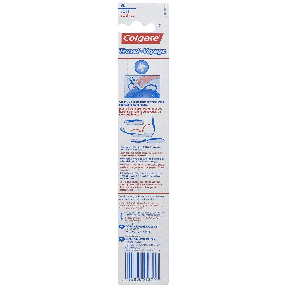Colgate Travel Toothbrush, Soft - Colors may Vary (6 Pack) by Colgate (Image #1)