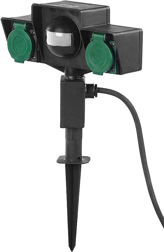 Revolt – Enchufe crepuscular: toma de jardín, a prueba de salpicaduras, con control automático del ocaso (toma de corriente externa con interruptor crepuscular): Amazon.es: Jardín