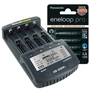 AccuPower IQ328 - Pack de pilas y cargador (4 x Eneloop Pro XX AA, Li-ion, Ni-MH, Ni-Cd), color negro