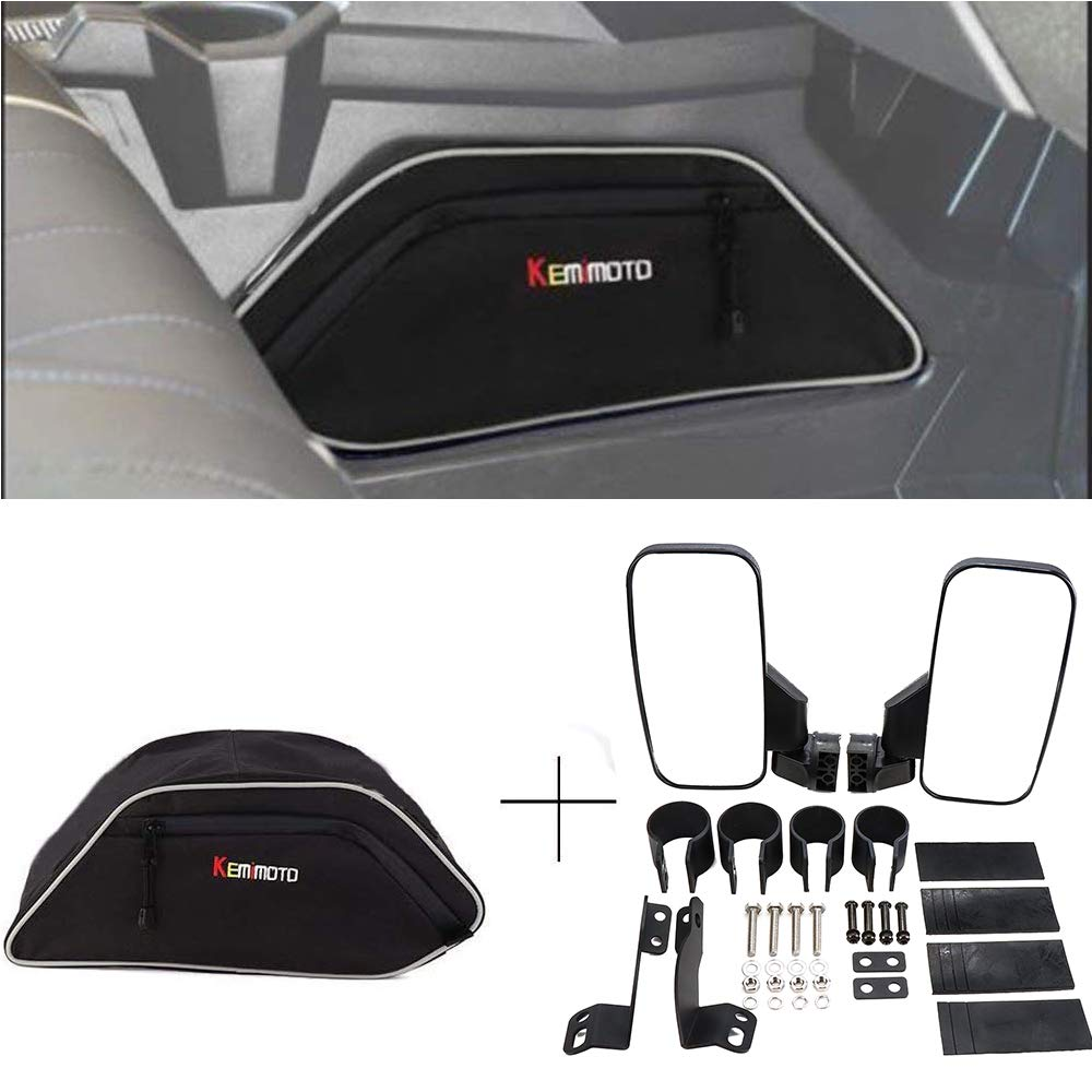 kemimoto UTV Side View Mirrors and Center Seats Console Storage Bag for Polaris General 4 1000 2016 2017 2018