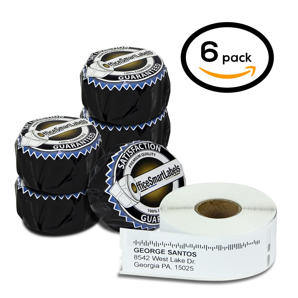 Dymo Compatible 30572 LabelWriter Self-Adhesive White Address Labels, 1-1/8'' x 3-1/2'' (6 Rolls, 260 Labels Per Roll)