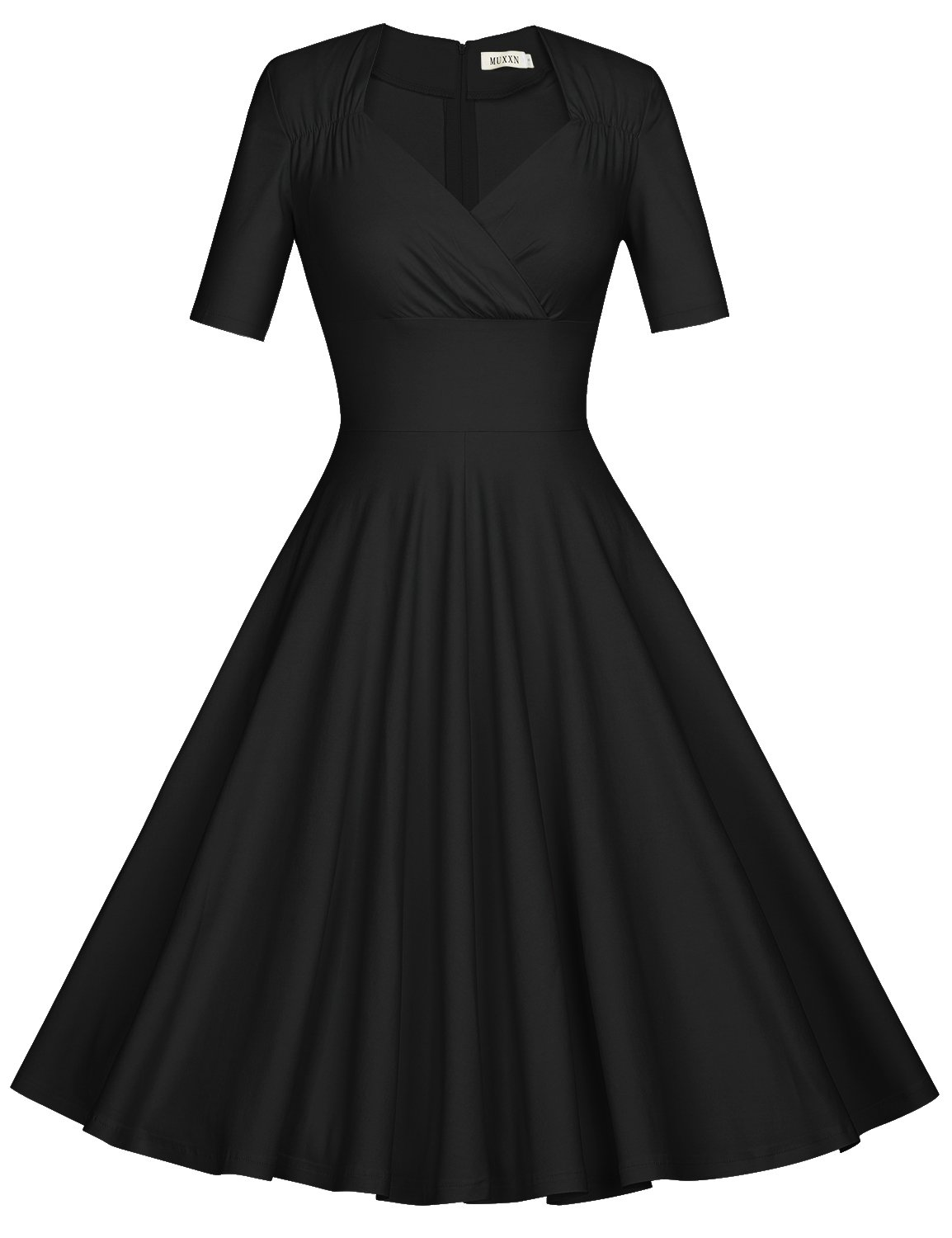 MUXXN Women's 50s Retro Solid Patchwork Pleated Swing Dress (L, Black)