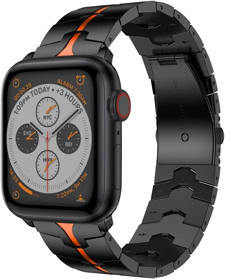 RABUZI Compatible for Apple Watch Band 44mm/42mm,Enamel Process Stainless Steel Metal Watch Replacement Bands Compatible for Apple Watch Series 6/5/4/3/2/1 Smartwatch,Black+Orange Enamel process