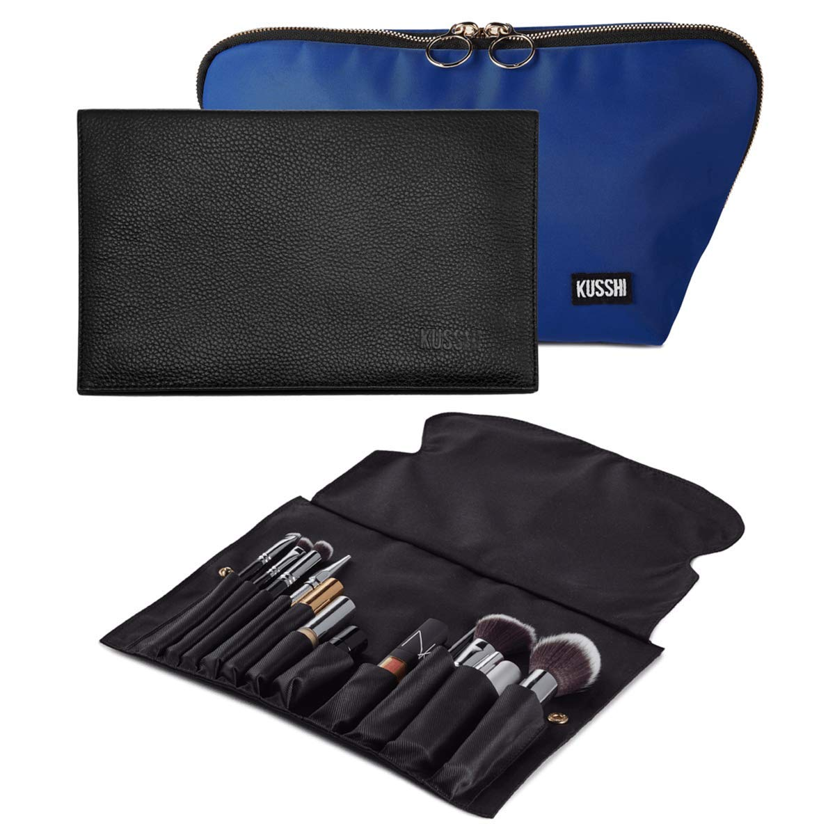 KUSSHI Full Set of Washable Travel Makeup & Cosmetic Bag with Brush Organizer and Cover