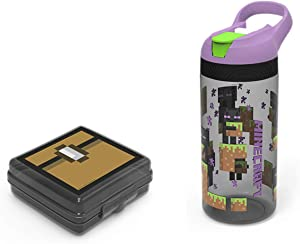Zak Designs Minecraft Steve Alex Kid's Lunch Set Food Container and 19 oz. Spout Water Bottle Leak-Proof Designs BPA-Free Perfect for School Kids (2pc Set)