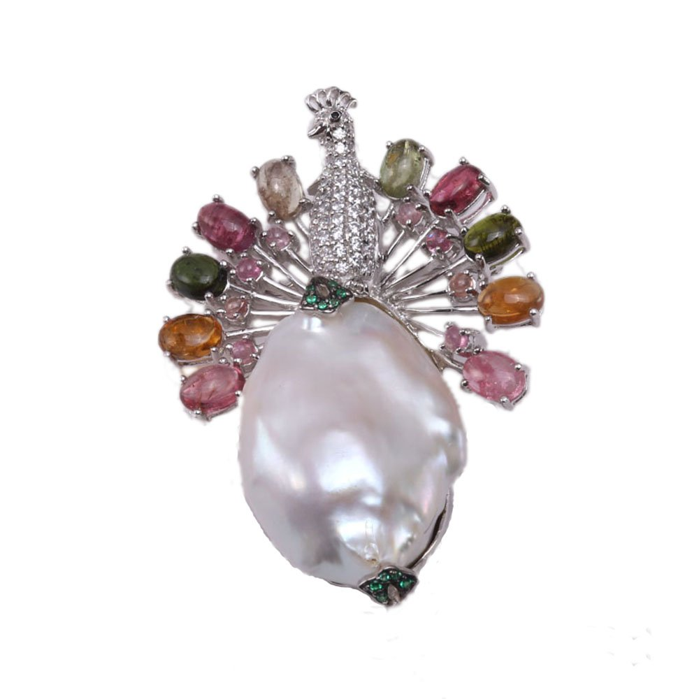 JYX Fine Peacock-style White Baroque Pearl Pendant with Colorful Tourmaline