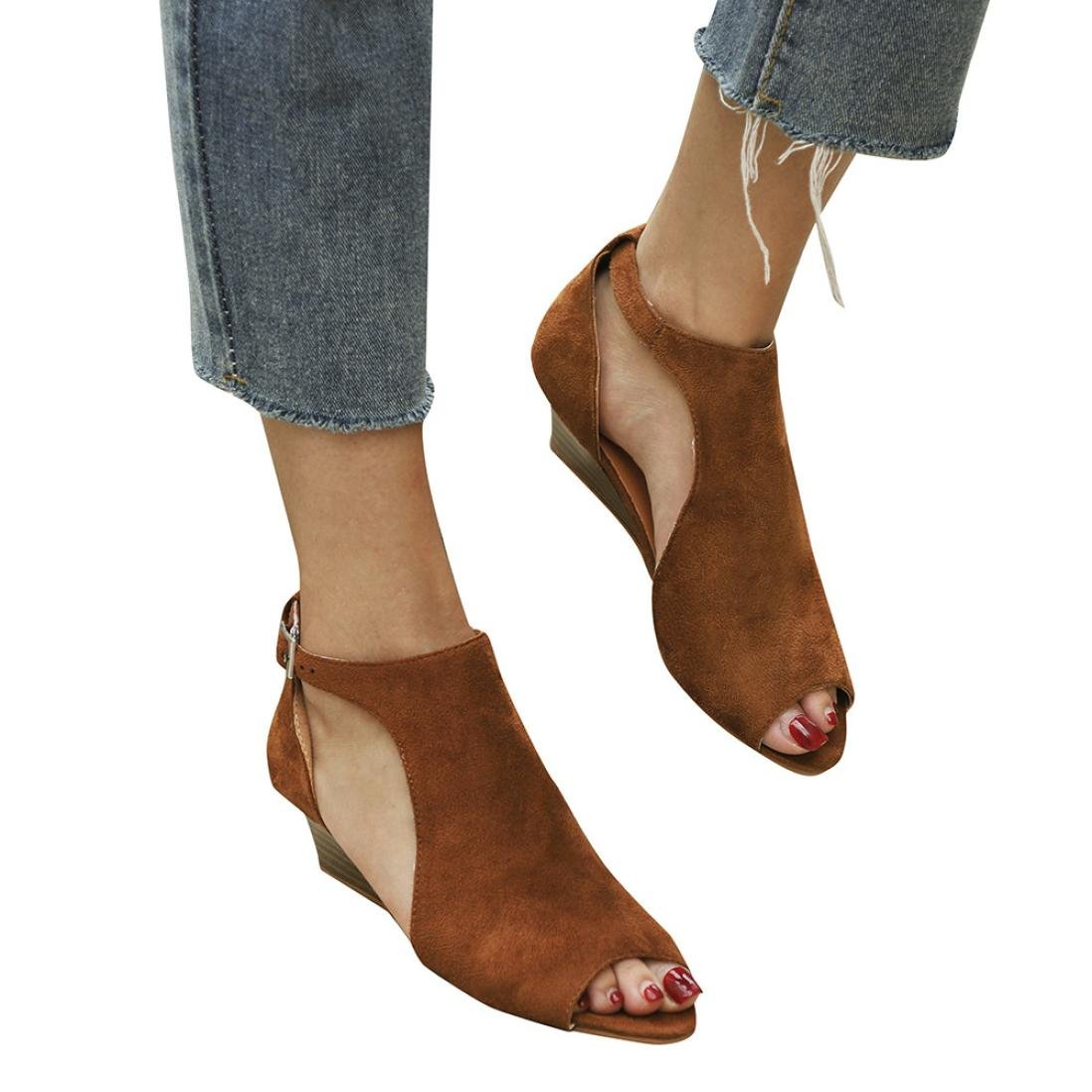 WensLTD Women's Espadrille Platform Wedge Sandals Ankle Strap Cut Out Peep Toe Shoes B07D8KBFVK 8|Brown
