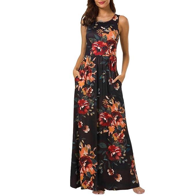 Damen Lange Kleider,Kanpola Maxikleider Blumenkleid Blumedrucken Rundhals  High Waist Blume Kleid Casual Festlich Hochzeit Tunika Bluse  Amazon.de  ... f125d47d3a