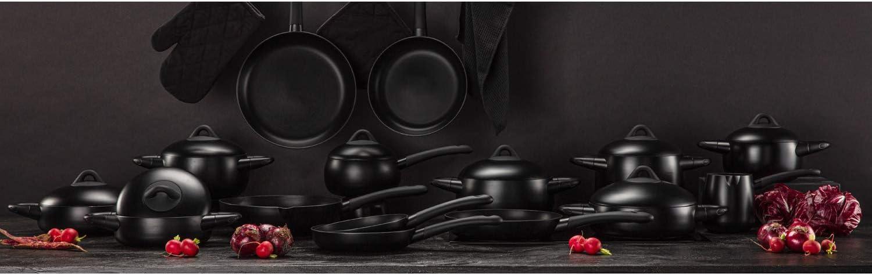 Wok Antiaderente con Versatore in Alluminio /ø 28 cm KASANOVA Wok K-Line Black Design by Luca Trazzi
