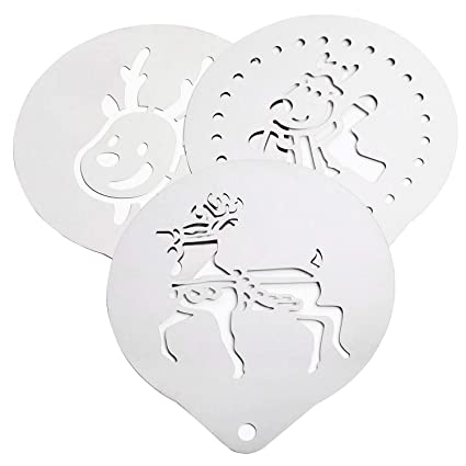 SODIAL Reindeer Coffee Stencil for Christmas 3 pc kit Novelty Classic Reindeer Design