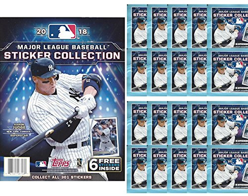 2018 Topps MLB Baseball Sticker Collection Starter Kit (20 packs & 1 album)