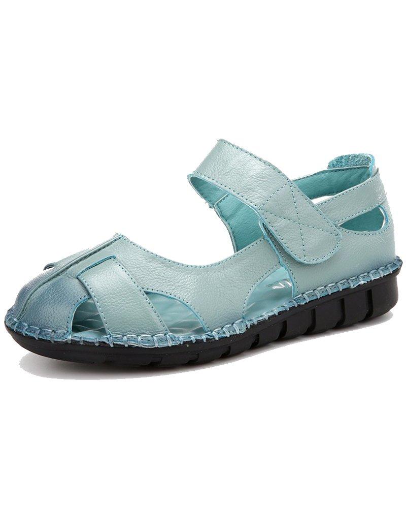 Duberess Women's Casual Leather Comfort Flat Mary Jane Sandals Ladies Summer Shoes B07DCMGJ68 8.5 B(M) US Blue