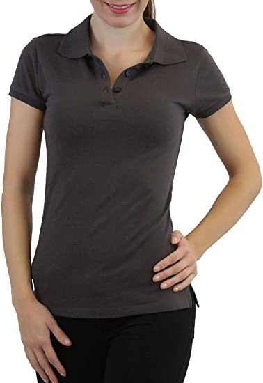 ToBeInStyle Women s Short Sleeve Slim-Fit Solid Peter Pan Cotton Polo Shirt  - DarkGray - afff7007ab
